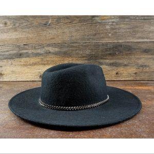 VINTAGE Boho Felt Hat Wide Brim Chain Detail